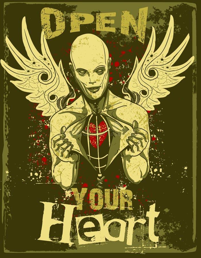 Ouvrez votre mal de coeur   illustration libre de droits
