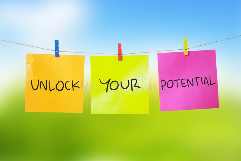 Ouvrez votre potentiel, citations inspirées de motivation photographie stock