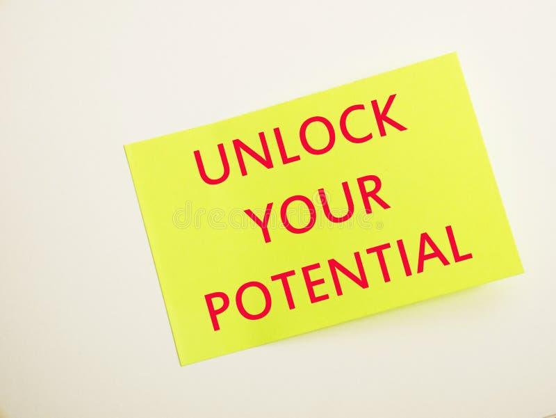 Ouvrez votre potentiel, citations inspirées de motivation photos stock