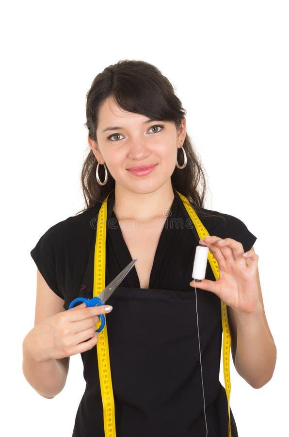 Ouvrière couturière de concepteur de tailleur de jeune femme images stock