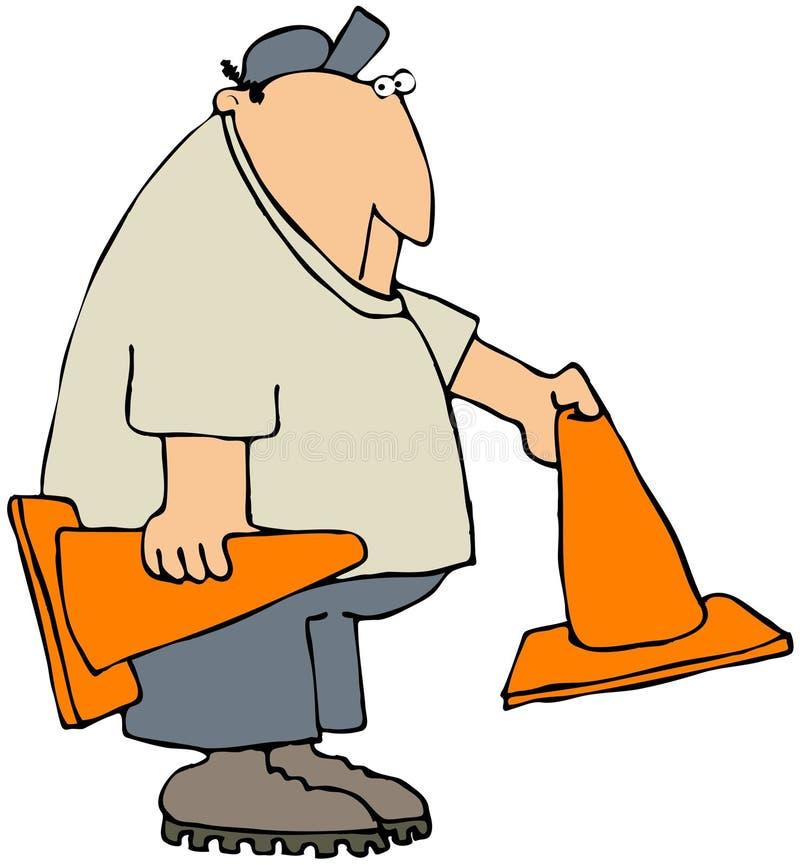 Ouvrier éteignant des cônes de sécurité illustration libre de droits