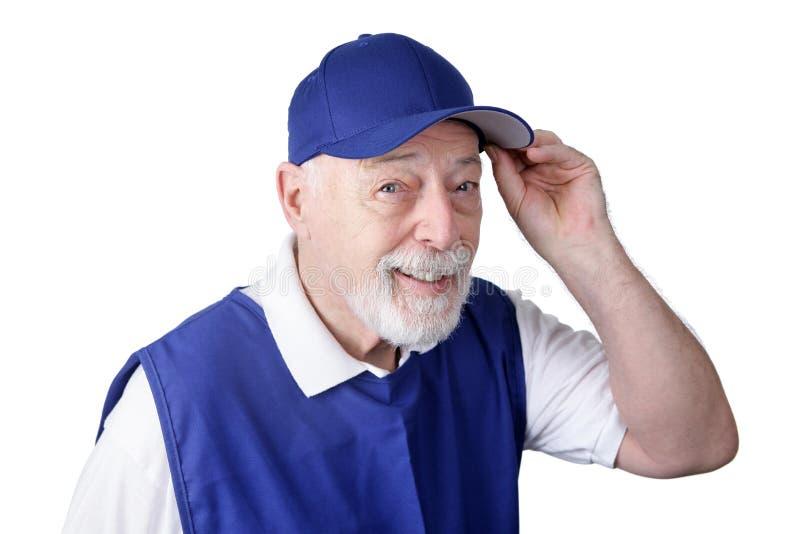 Ouvrier aîné - bienvenue image stock