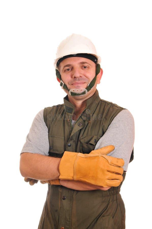 Ouvrier avec le casque et les gants photographie stock