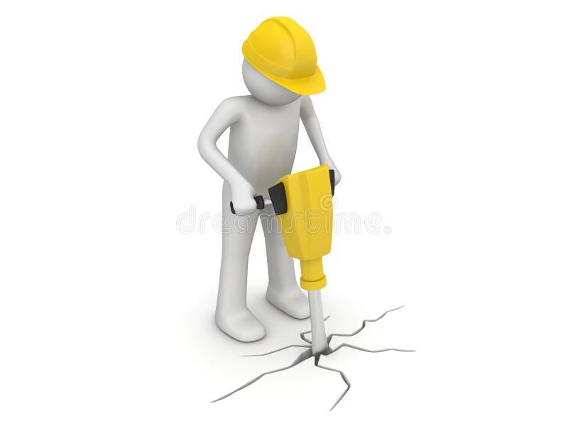 Ouvrier avec paver le rupteur illustration stock