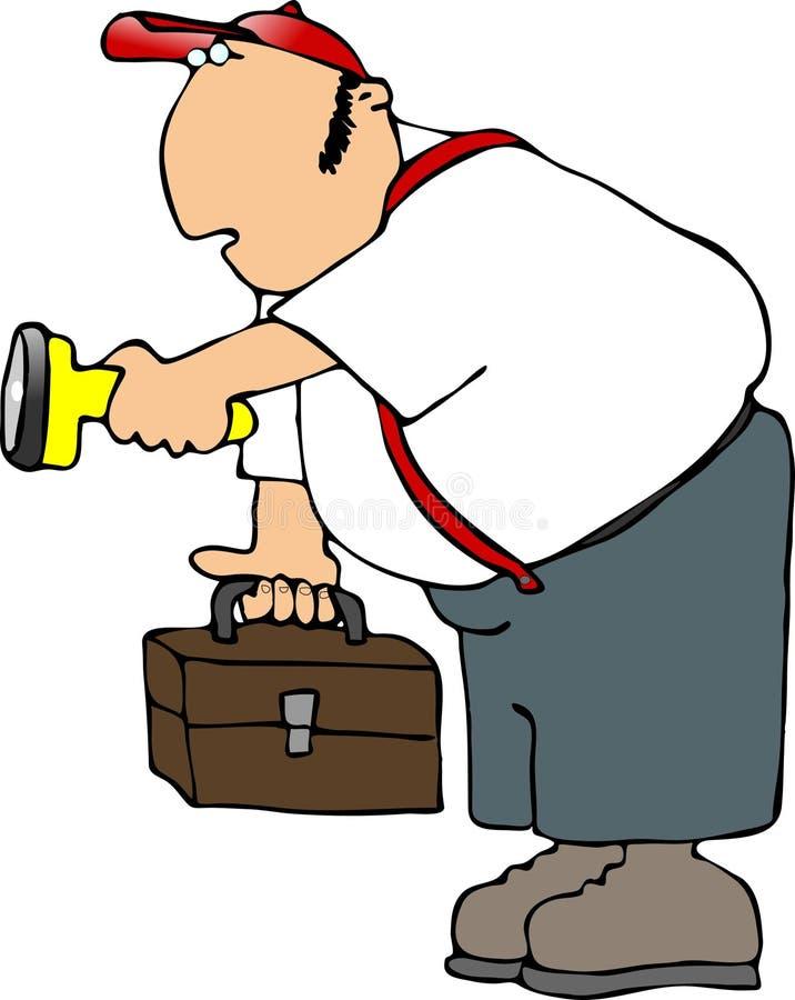 Ouvrier avec une lampe-torche illustration libre de droits