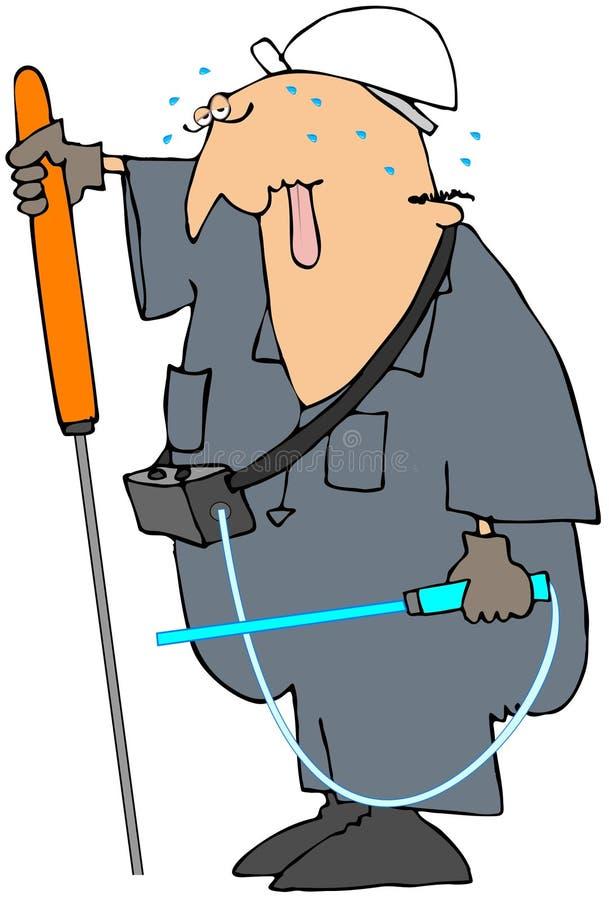 Ouvrier contrôlant une fuite souterraine de gaz illustration stock