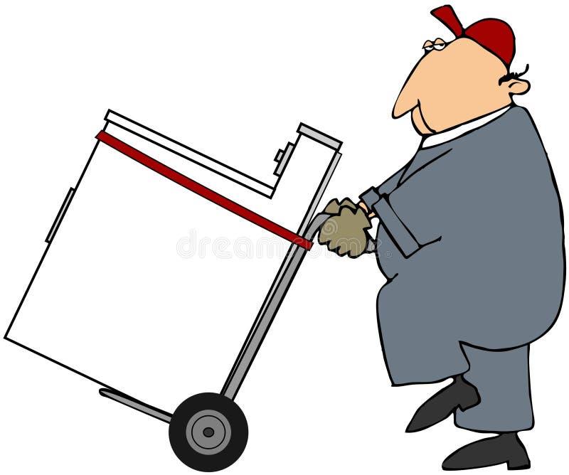 Ouvrier déménageant une rondelle ou un dessiccateur illustration de vecteur