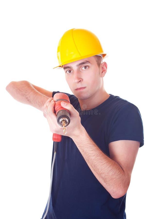Ouvrier d'hommes avec un foret photos libres de droits