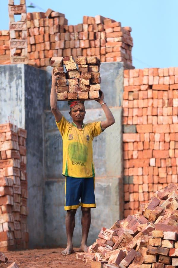 Ouvrier de brique photos libres de droits