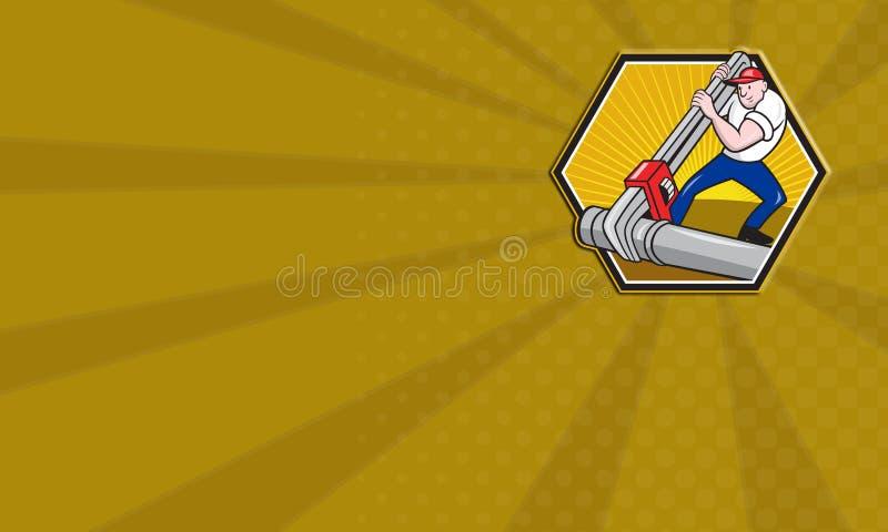 Ouvrier de plombier avec le dessin animé de clé réglable illustration de vecteur