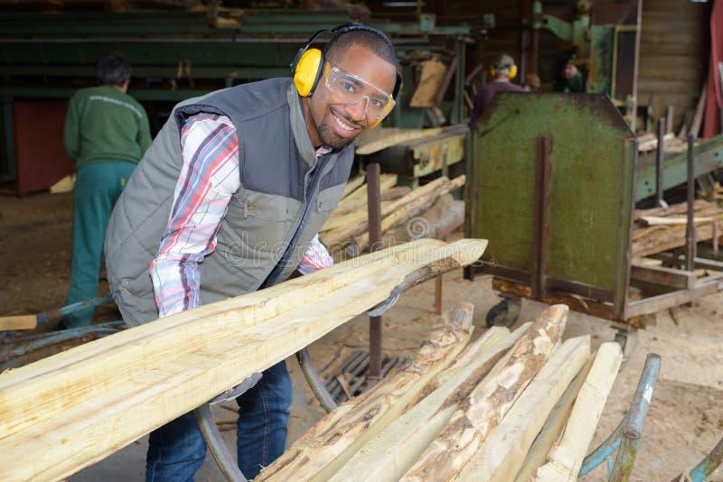 Ouvrier de portrait dans le woodyard image libre de droits