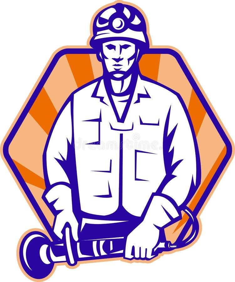 Ouvrier de secours avec l'outil de rectifieuse d'angle rétro illustration libre de droits