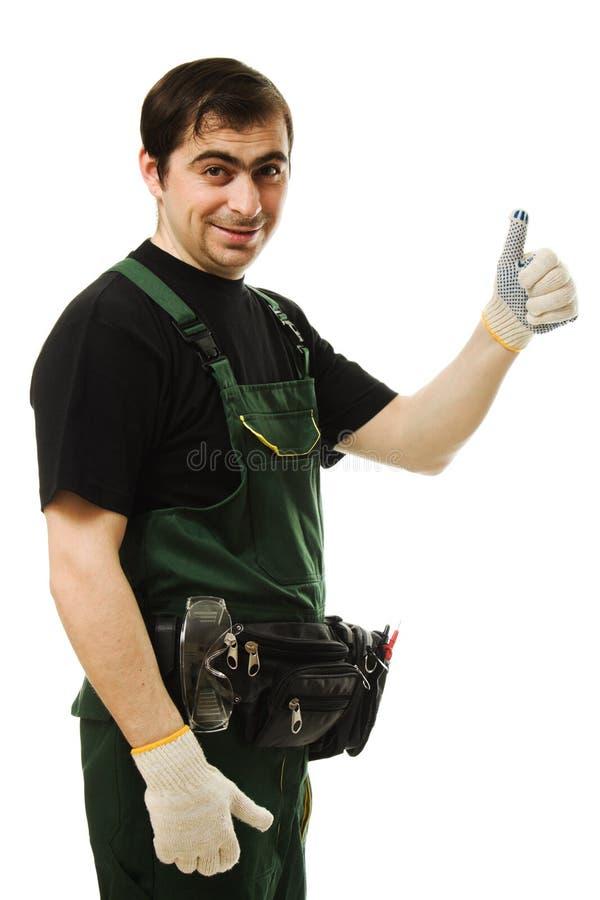 Ouvrier de sexe masculin avec des outils photos libres de droits