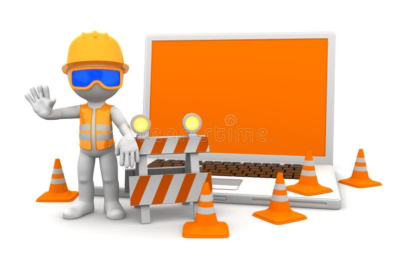 Ouvrier industriel avec l'ordinateur portatif illustration de vecteur
