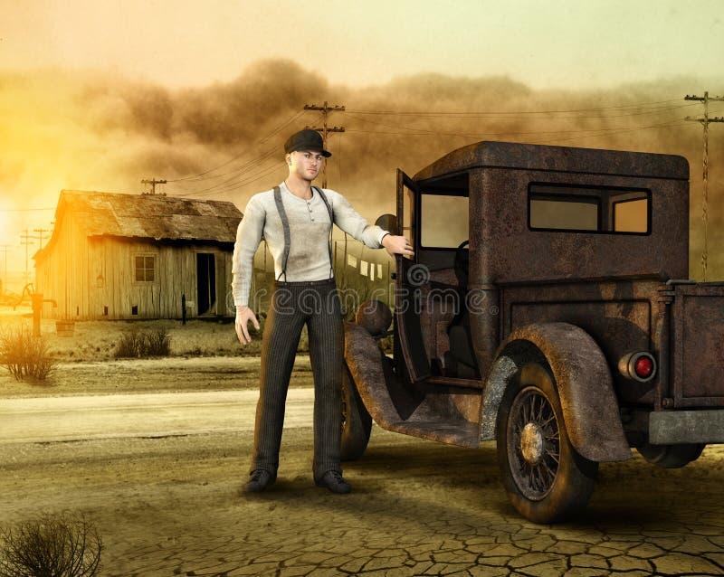 Ouvrier laissant une ferme d'ère des années 1930 de cuvette de poussière illustration stock