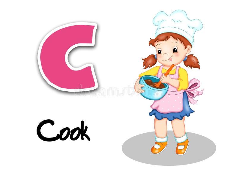 Ouvriers d'alphabet - cuisinier illustration de vecteur