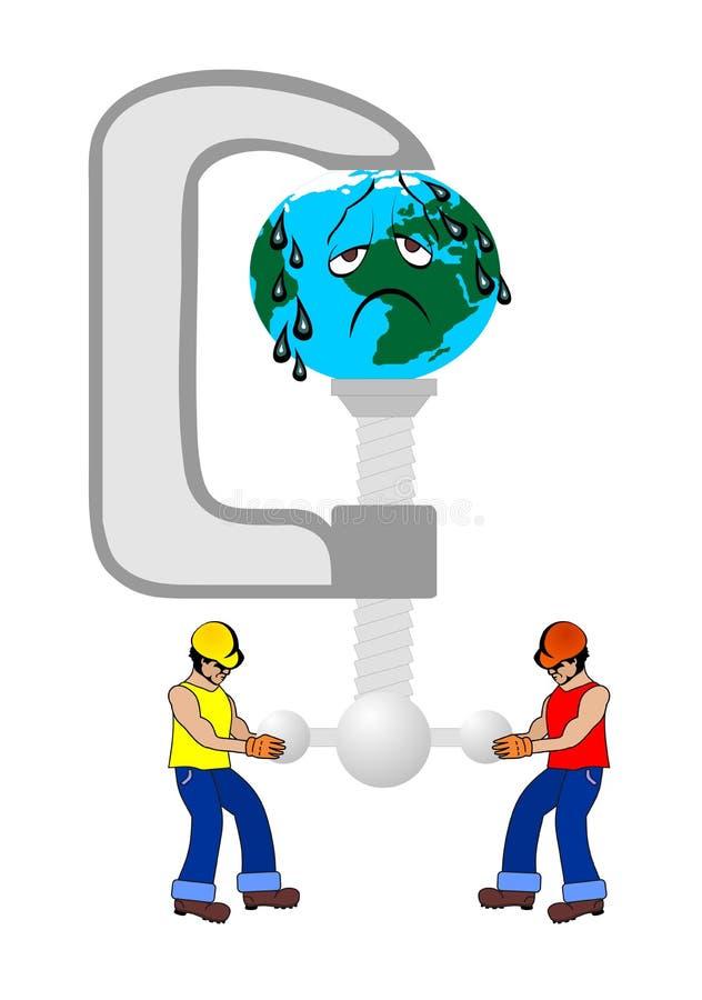 Ouvriers de pétrole et terre de planète photos stock