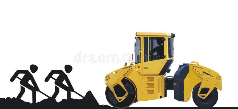 Ouvriers et machine de route