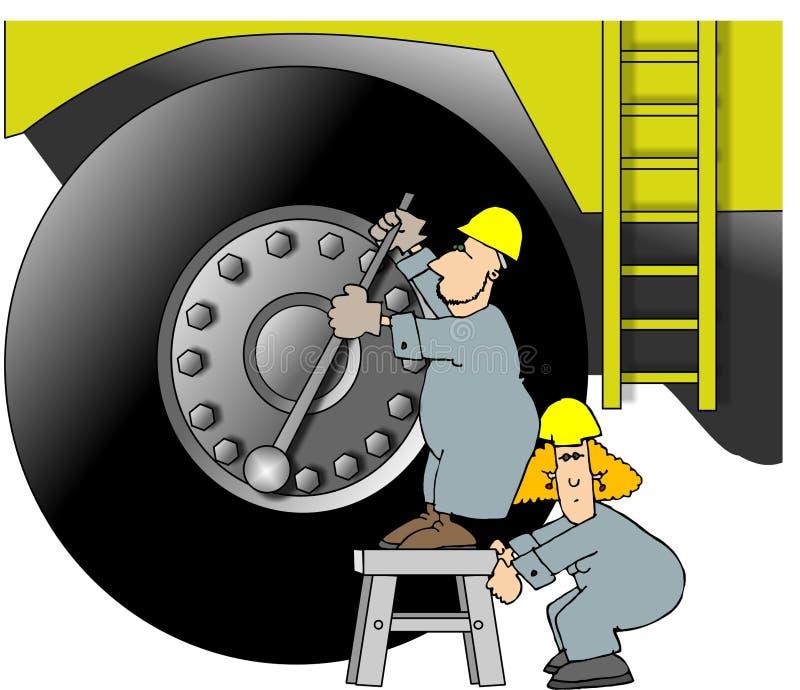 Ouvriers lourds de matériel illustration de vecteur