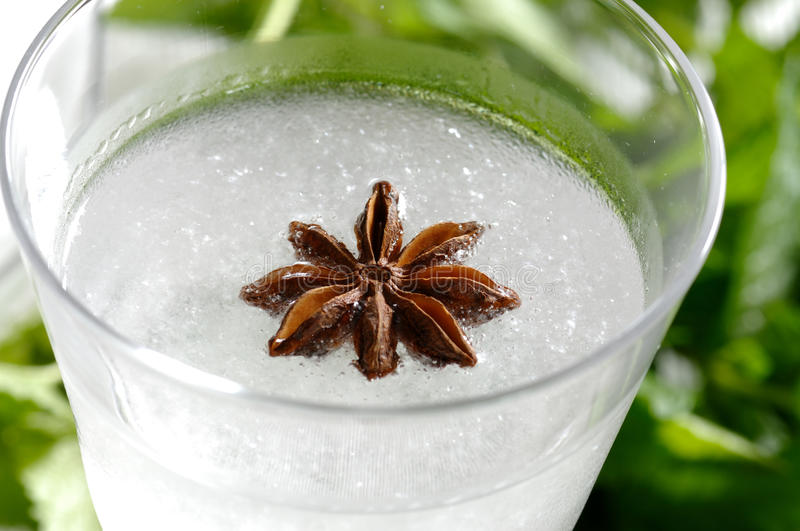 Ouzo closeup. Zloseup of a chilled ouso with aniseed royalty free stock image