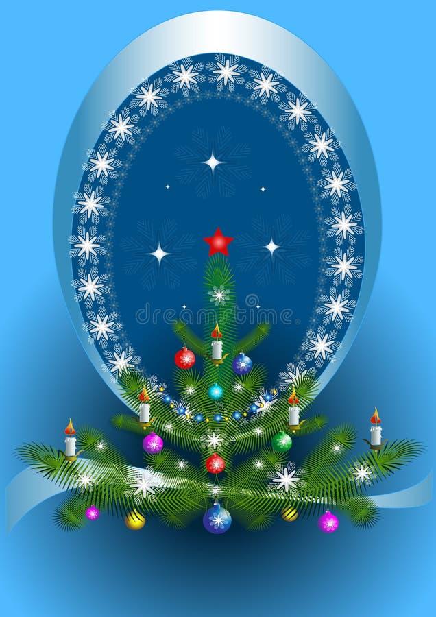 Ovaal frame met de Kerstboom op blauwe achtergrond stock illustratie