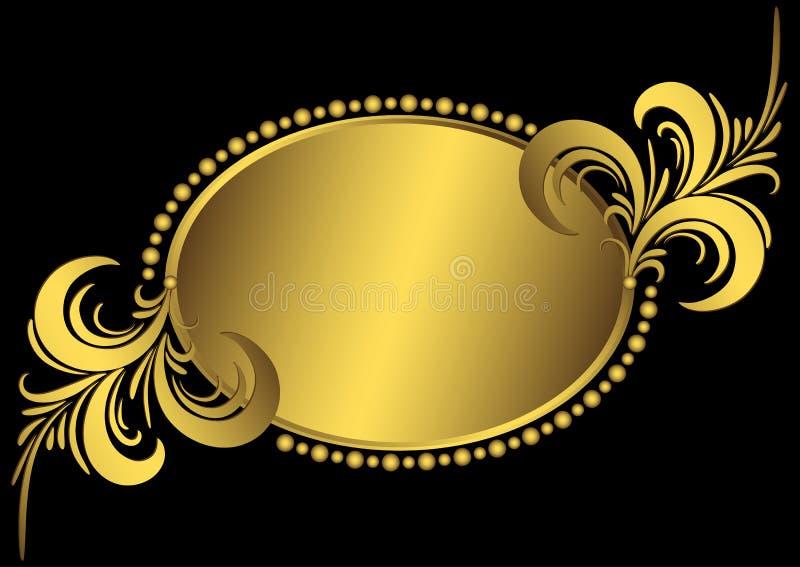 Ovaal gouden uitstekend frame stock illustratie