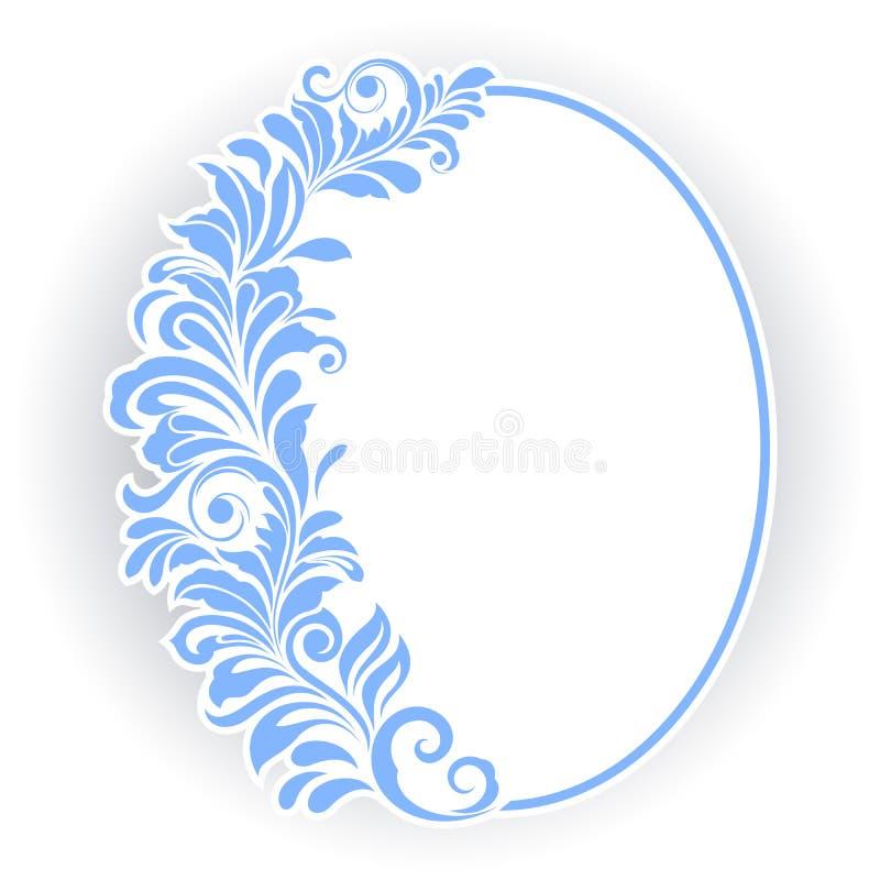 Ovaal kader met bloemenornament royalty-vrije illustratie