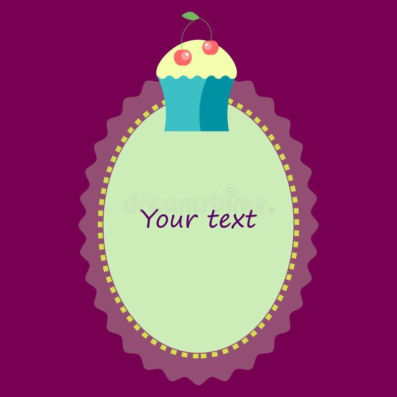 Ovaal kader met cupcakemalplaatje voor uitnodiging, prentbriefkaar stock afbeeldingen