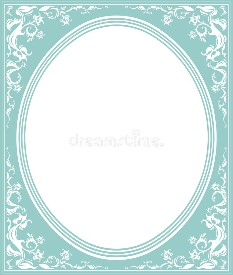 Ovaal kader met elegant ornament stock illustratie