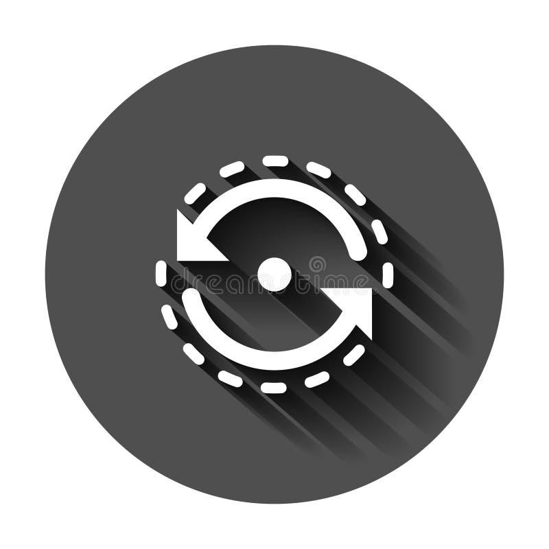 Ovaal met pijlenpictogram in vlakke stijl De consistentie herhaalt vectorillustratie op zwarte ronde achtergrond met lange schadu stock illustratie