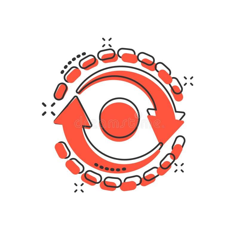 Ovaal met pijlpictogram in stripstijl Consistentie herhaal vectortekenillustratie op witte geïsoleerde achtergrond Herladen, rota royalty-vrije illustratie