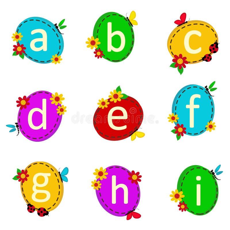 Oval αλφάβητου από το Α στο Ι διανυσματική απεικόνιση