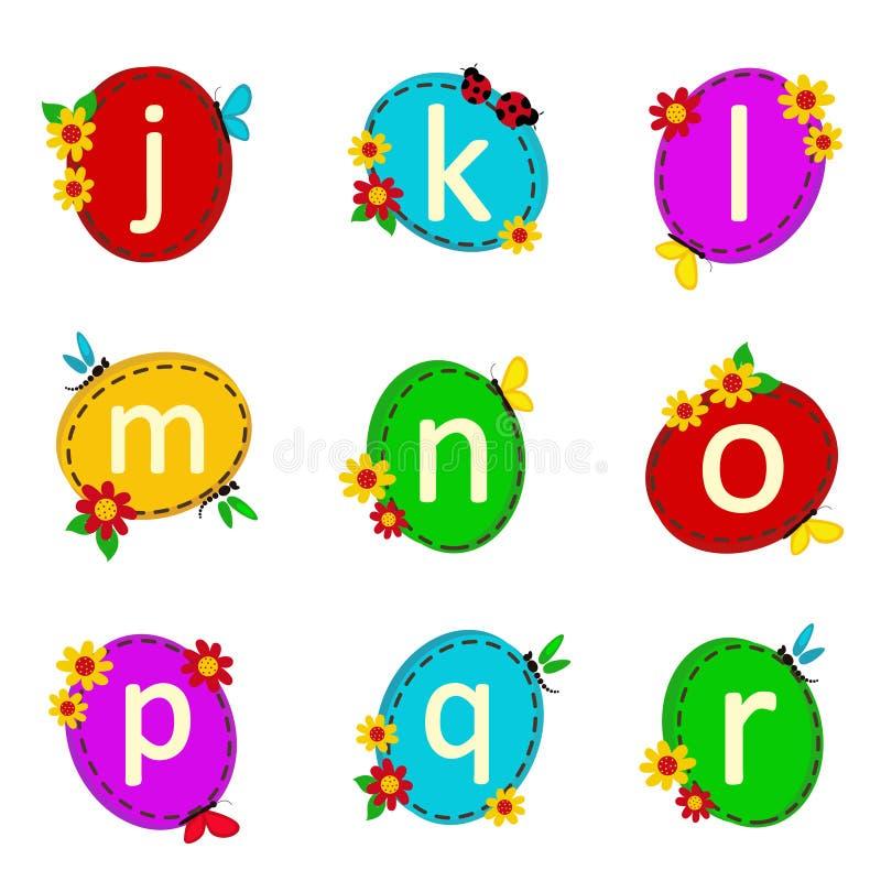 Oval αλφάβητου από το J στο Ρ διανυσματική απεικόνιση
