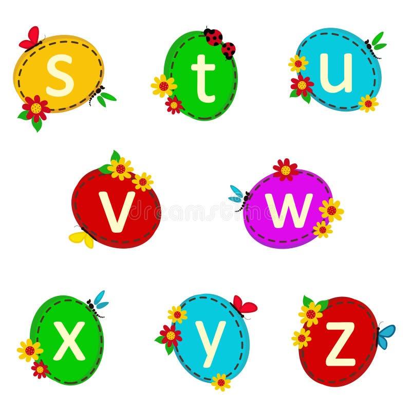 Oval αλφάβητου από το S στο Ζ απεικόνιση αποθεμάτων