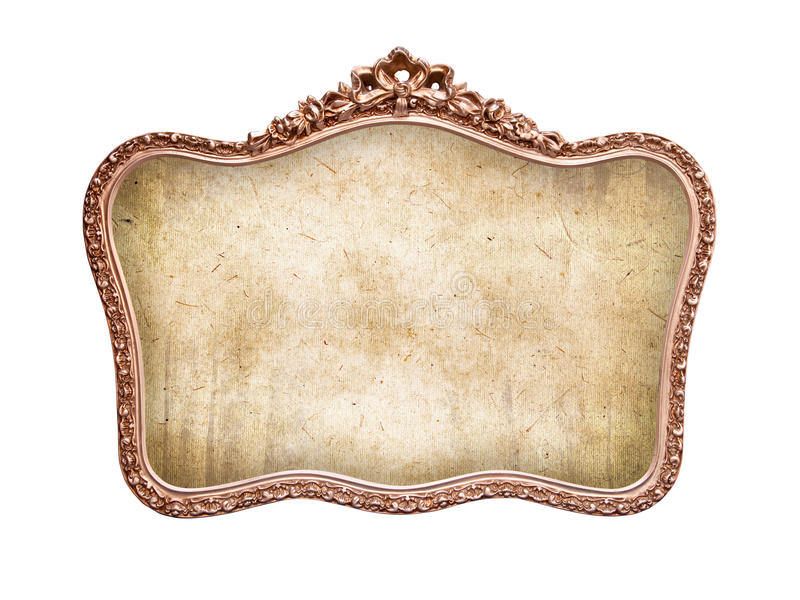 Oval antique baroque frame, isolated on white royalty free stock images