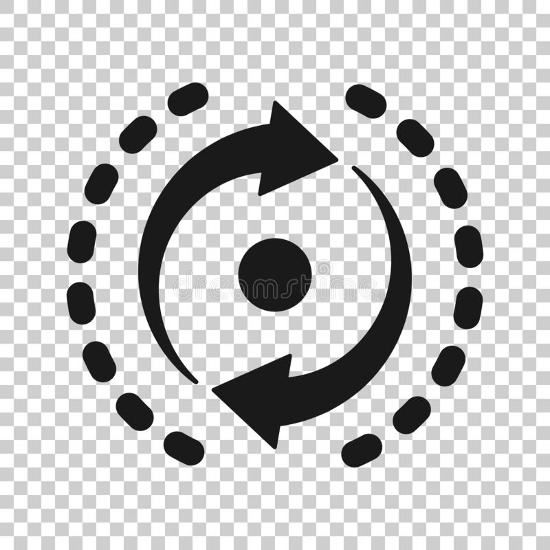 Oval with arrows icon in transparent style. Consistency repeat vector illustration on isolated background. Reload rotation royalty free illustration