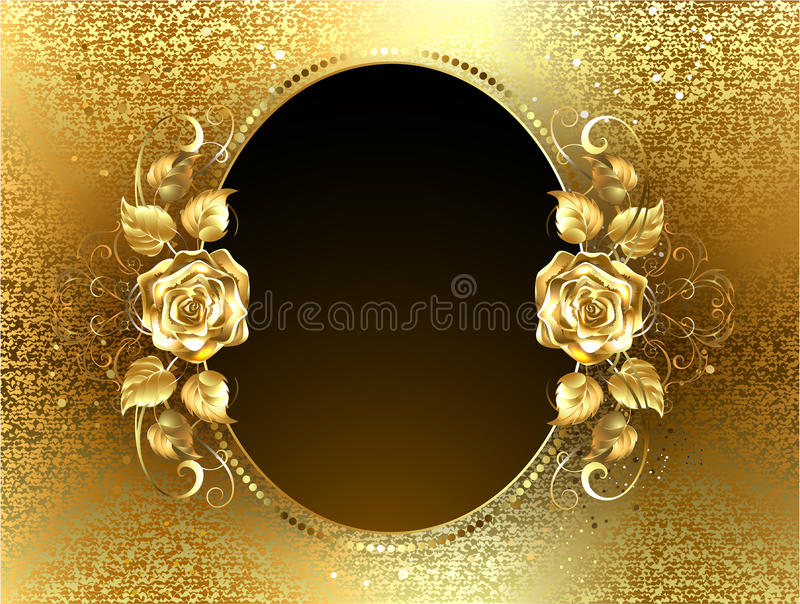 Oval banner with golden rose. Oval banner with two gold roses on a background of gold brocade vector illustration