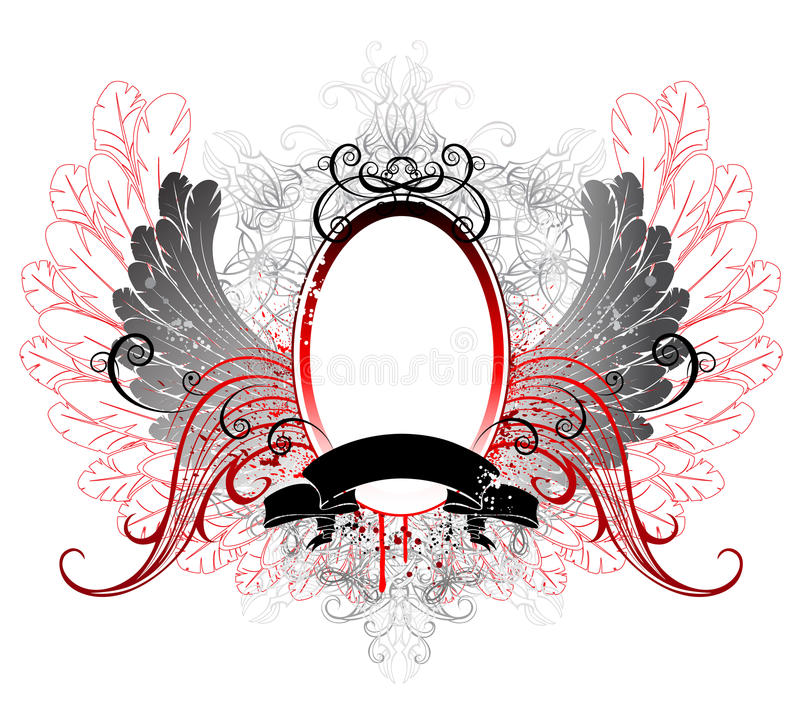 Oval banner with gray wings vector illustration