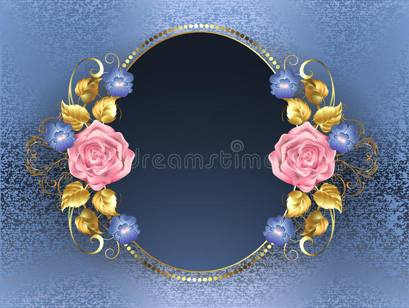 Oval banner with pink roses. Gold leaves and violets blue on blue brocade background stock illustration
