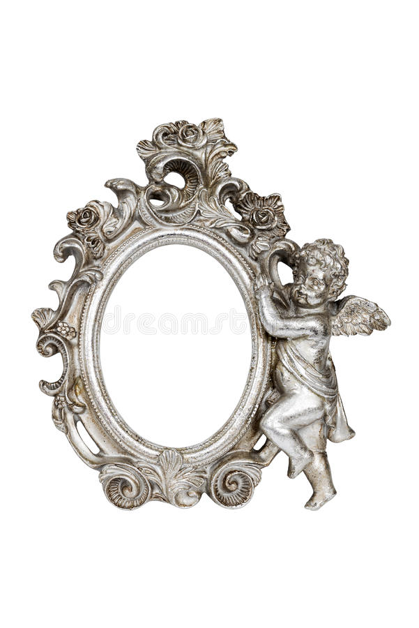 Oval baroque silver picture frame royalty free stock image