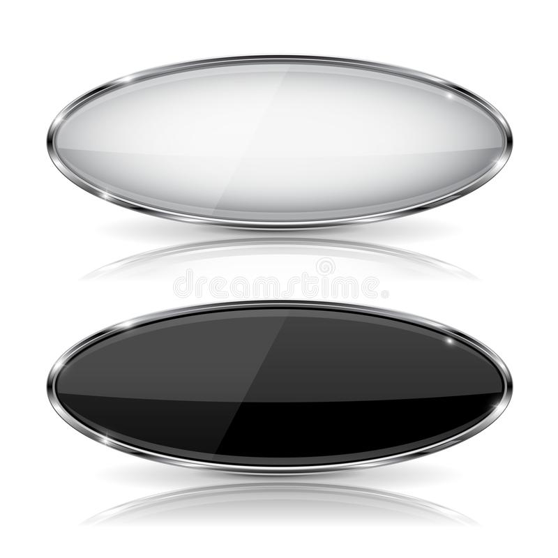 Oval black and white glass buttons with metal frame. With reflection. Vector 3d illustration isolated on white background royalty free illustration