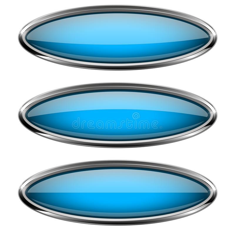 Oval blue glass buttons with metal frame stock illustration