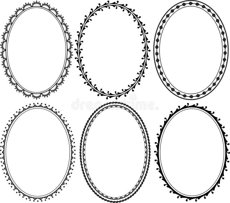 Oval border. Silhouette ornate oval border royalty free illustration
