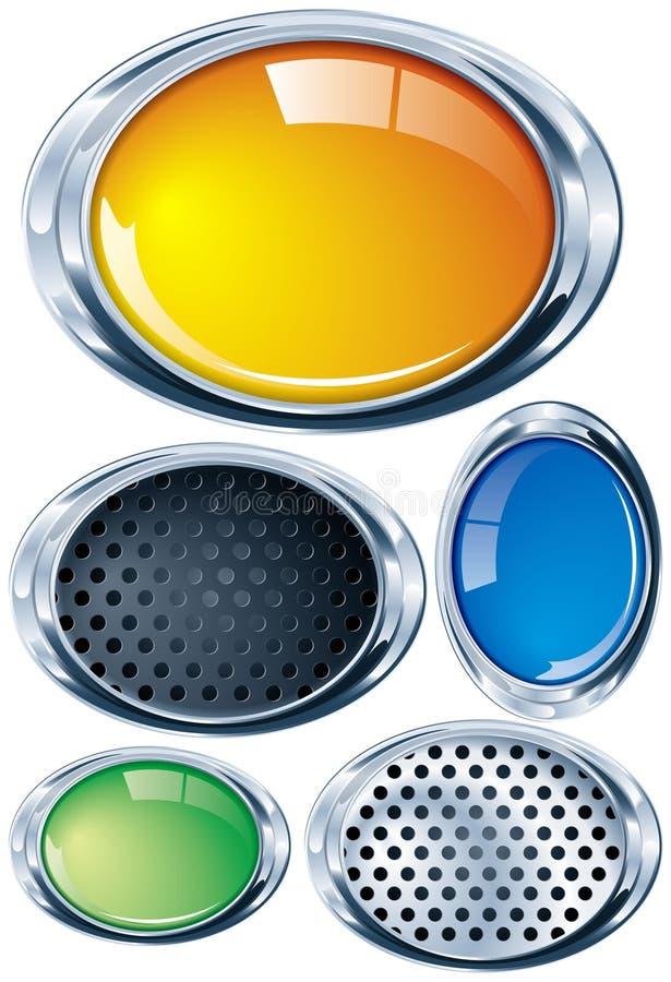Oval brilhante do cromo em várias cores e texturas ilustração stock