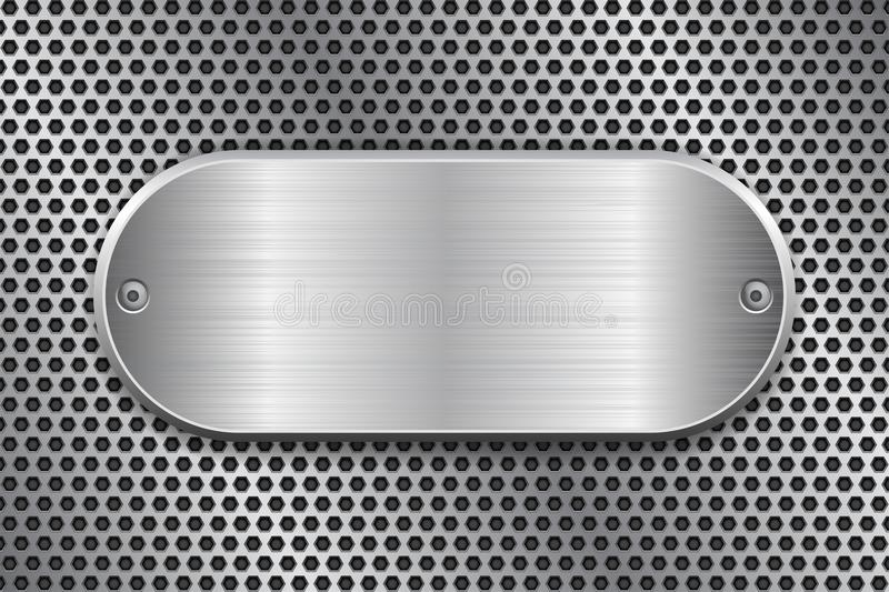 Oval brushed metal plate on perforated texture. Vector 3d illustration royalty free illustration