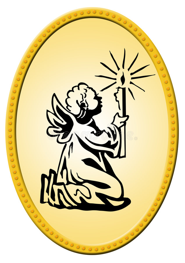 Oval christmas badge vector illustration