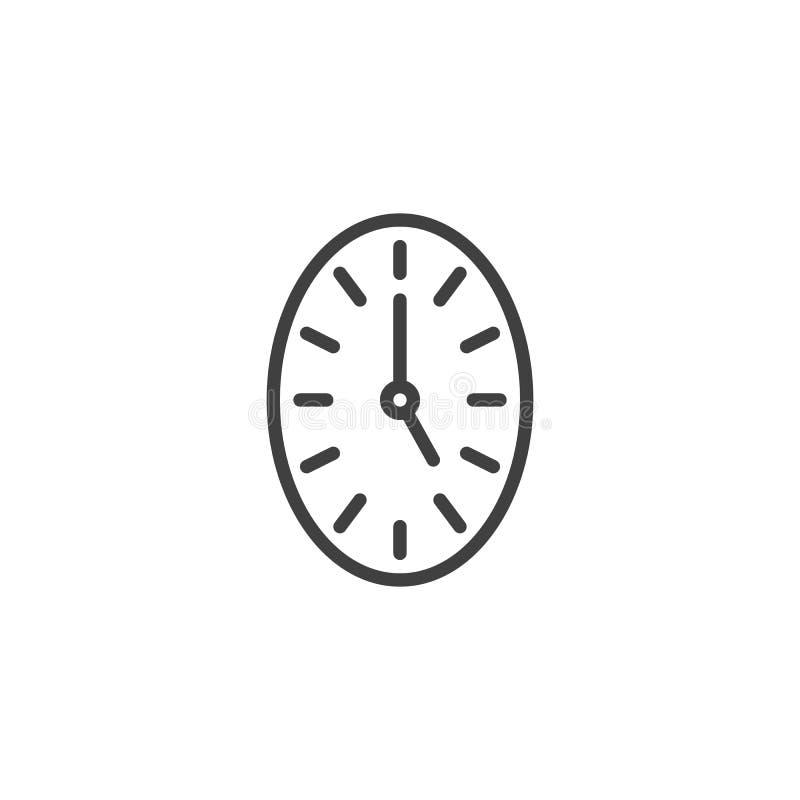 Oval clock line icon stock illustration