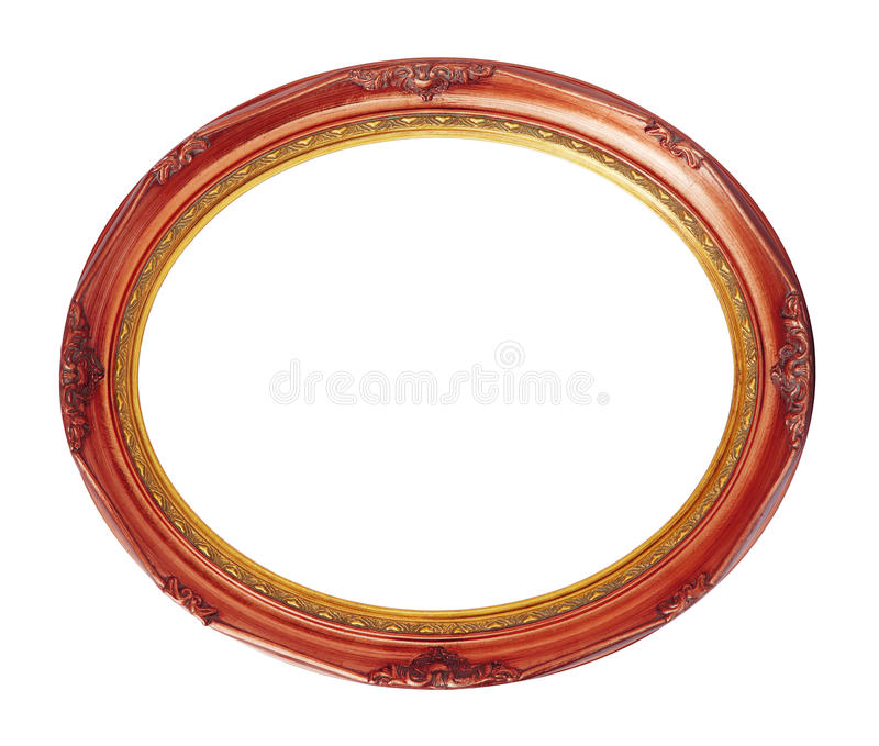 Oval copper-red wooden frame isolated clipping path royalty free stock photo