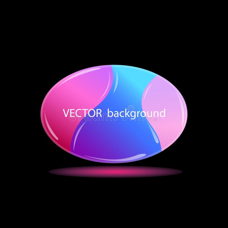 Oval crystal background, with space for text. Glowing colored drop on black background. royalty free illustration