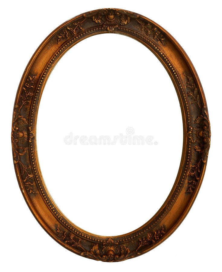 Oval Decorative Picture Frame. Brass colored oval frame isolated on white stock photography